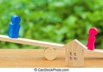 house., conflict., scale., figure, proprietà, donna, legno, divisione, divorzio, proprietà, persone., uomo, court., clarification, prova, legale, means., standing