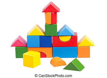 House constructed of wooden blocks