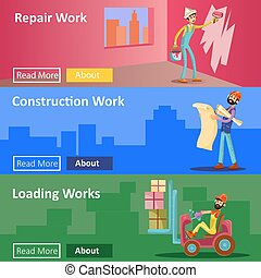 House construction and repair work vector flat illustration web banners of builder workers for building company