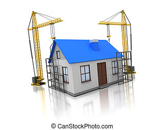 house construction - 3d illustration of domestic house...