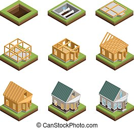 House Construction Icons Set - House construction phases...