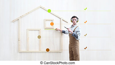 house construction renovation concept handyman carpenter worker man with meter measure and show the model of a wooden house, with symbols and icons, infographic list