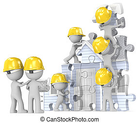 House construction site. - Dude the builders x 7 building...