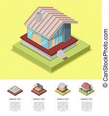House construction stages isometric poster