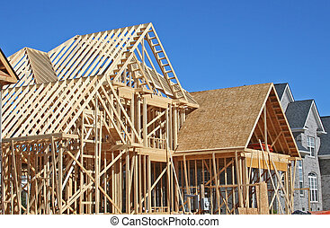house construction - house under construction during framing...