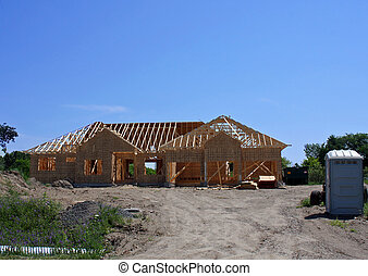 House Construction - Photo of a house under construction.