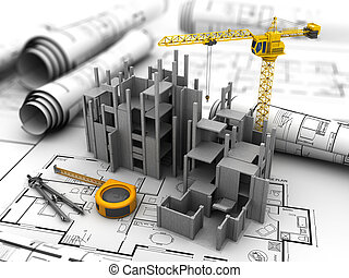 house construction - abstract 3d illustration of...