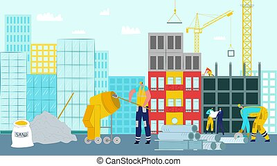 House construction work, vector illustration. Worker builder character use equipment at industry site, architecture crane design.