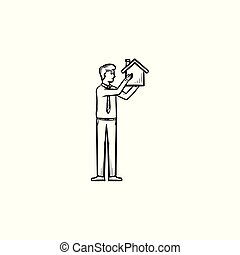 House constructor hand drawn outline doodle icon....