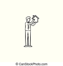 House constructor hand drawn outline doodle icon. - Realty...
