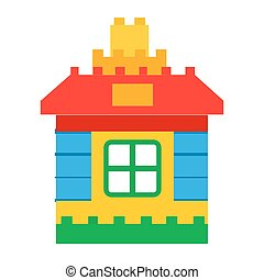 House Constructor Toy for Children Play Vector - House...