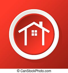 House contour icon on red - Round white icon with image of ...