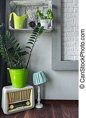 House corner with stylish decorations