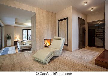 house:, couloir, travertin