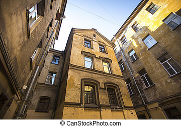 House court yard in the historic center of St. Petersburg,...