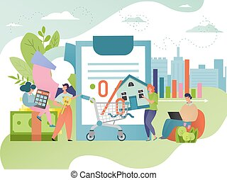 house., crédito, concept., mortgagor, mortgaged, propriedade, hipoteca, dívida, contract., real, empréstimo, illustration., propriedade, vetorial