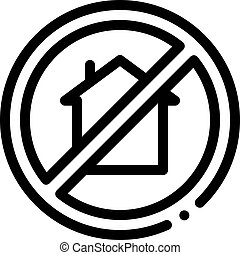 house crossed out sign icon vector outline illustration