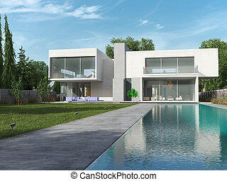 House cube day - External view of a contemporary house with ...