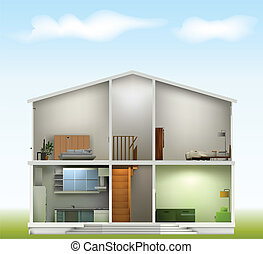 House cut with interiors on against the sky