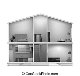 House cut with interiors. Vector