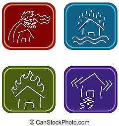 House Damage Icons - An image of house damage icons.