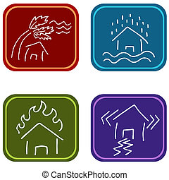 House Damage Icons - An image of house damage icons.