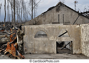 House Damaged by Pyroclastic