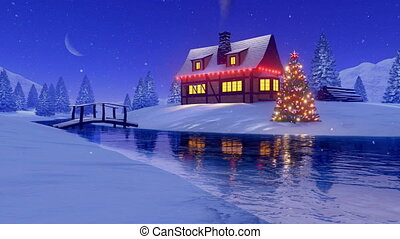 House decorated for Xmas near frozen river at night