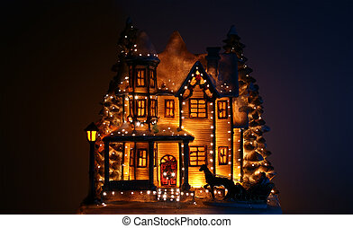 house decorated with lots of Christmas lights.