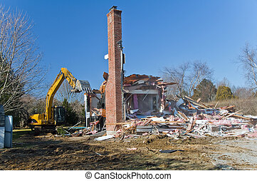 House Demolition - A large house under domolition to make ...