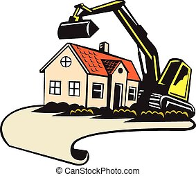 House Demolition Building Removal - Illustration of a house...