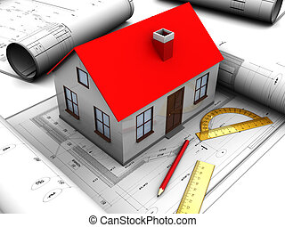 house design - 3d illustration of house model with ...
