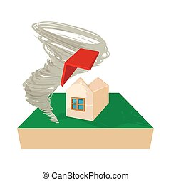 House destroyed by hurricane icon, cartoon style