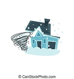 House destroyed by hurricane, property insurance vector...