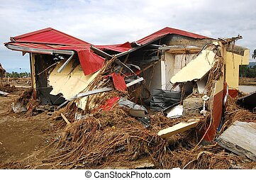 House destroyed by flood during typhoon Sendong or Washai in Iligan City, Philippines during December 18, 2011.