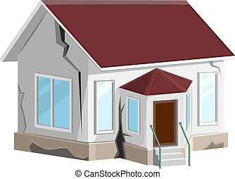 House destroyed. Cracks in walls of home. Property insurance. Errors construction. Isolated on white vector illustration
