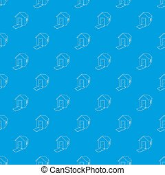 House destroyed pattern seamless blue
