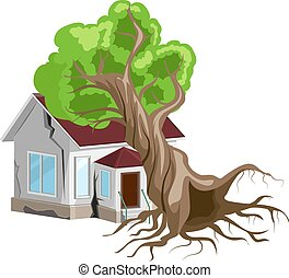 House destroyed. Tree fell on house. Cracks in walls of home. Property insurance. Isolated on white vector illustration