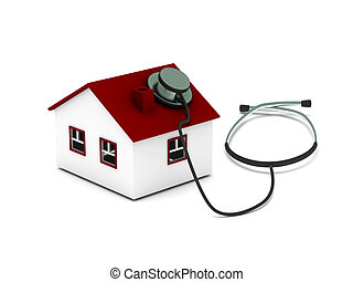 House diagnostics. House with stethoscope isolated on white...