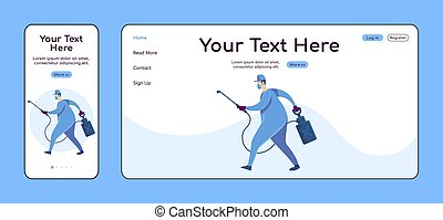 House disinfection adaptive landing page flat color vector template. Cleaning service mobile and PC homepage layout. Repairman one page website UI. Home repairs webpage cross platform design