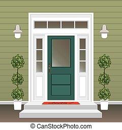 House door front with doorstep and mat, steps, window ...