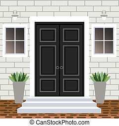 House door front with doorstep and steps, widow, lamp, flowers in pots, building entry facade, exterior entrance with brick wall design illustration vector flat style