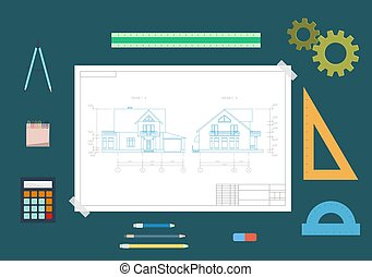 House drawing and drawing tools. The concept of design. Flat vector illustration