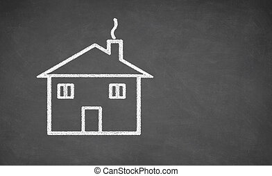 House drawing on chalkboard.