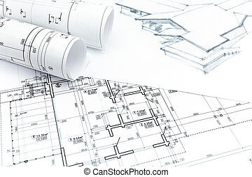 Architect rolls and plans architects workspace with rolled house drawing with with house plan blueprints architectural hand drawing with architect rolls malvernweather Images