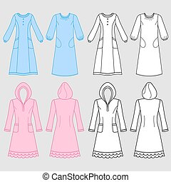House dress, nightdress front view, vector illustration...