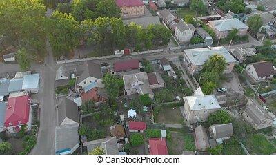 House drone surveillance aerial bird eye view village street suburb private area