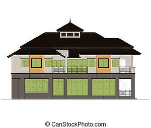 house elevation , color scheme