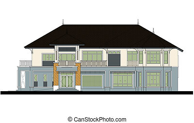 house elevation , color scheme , on white background