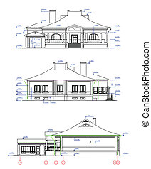 House Elevations. Vector - Three CAD elevations for a house...
